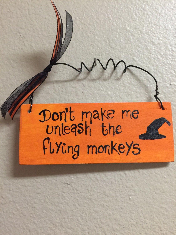 Etsy Halloween Decorations flying monkeys wood signs halloween signs witch hat halloween