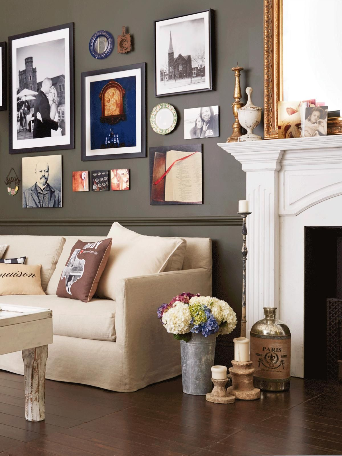 mix in a blend of vintage and modern in this great room on living room color inspiration id=67487