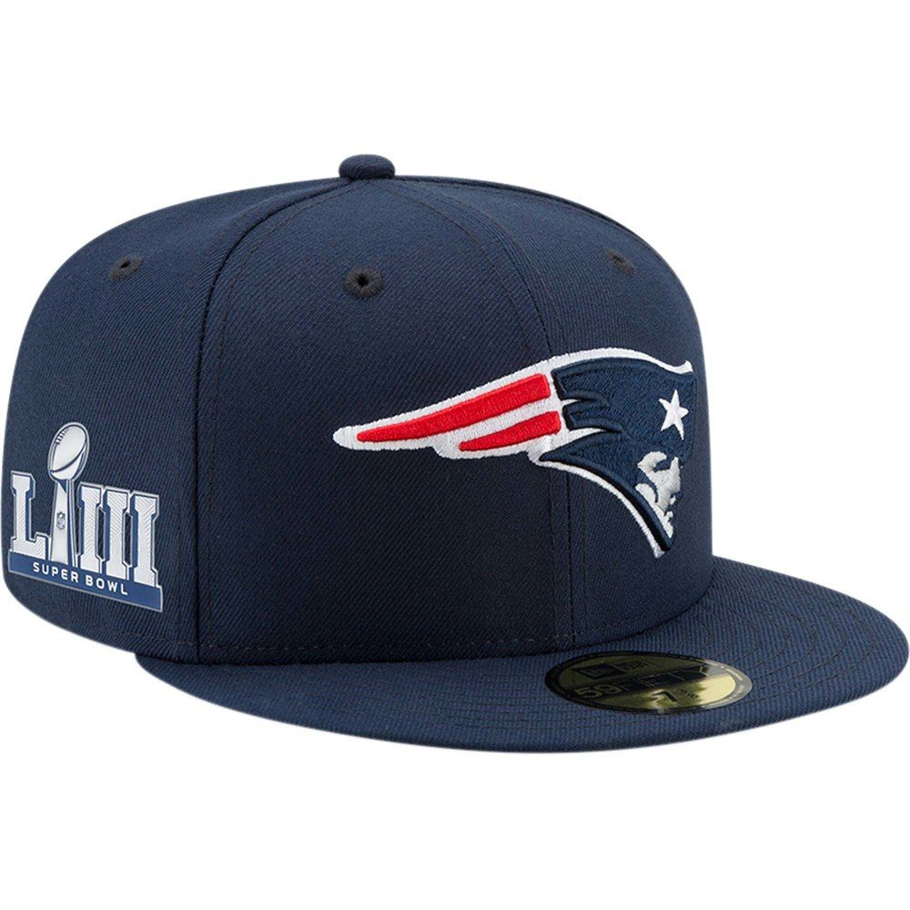 46cf657b9b33fb Men's New Era Navy New England Patriots Super Bowl LIII Side Patch Sideline  59FIFTY Fitted Hat