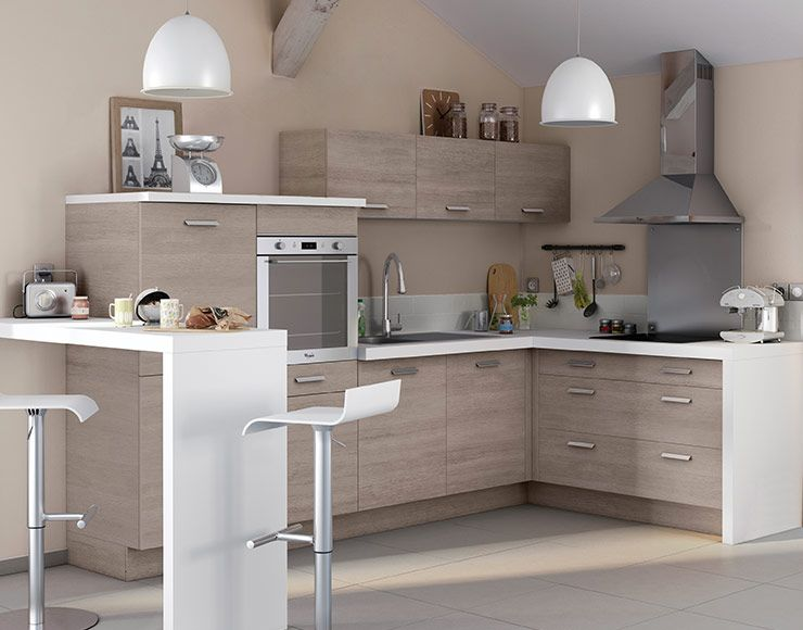 une cuisine aux teintes naturelles et douces cuisine petite cuisine cuisine moderne et. Black Bedroom Furniture Sets. Home Design Ideas