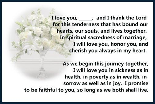 Renewing Wedding Vows Quotes: Marriage Vows - Christian Vows