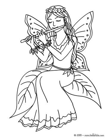 Fairy Playing Flute Coloring Page Fairy Drawings Drawings