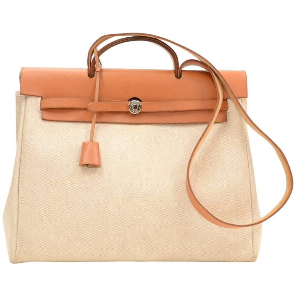 eeb39115e605 Hermes Herbag MM 2 in 1 Beige Canvas Brown Leather Shoulder Hand Bag ...