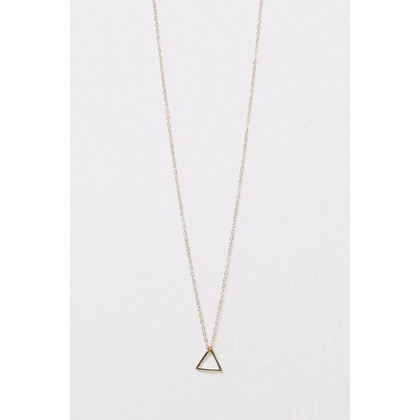 Mini Triangle Charm Delicate Necklace (€53) ❤ liked on Polyvore featuring jewelry, necklaces, genuine people, triangle, lobster clasp charms, mini pendants, charm pendant, mini charms and 14 karat gold necklace