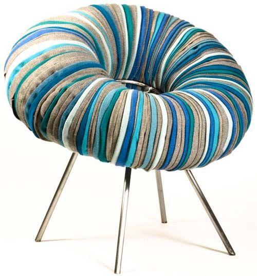 the-drops-chair.....strips of polar fleece or wool?
