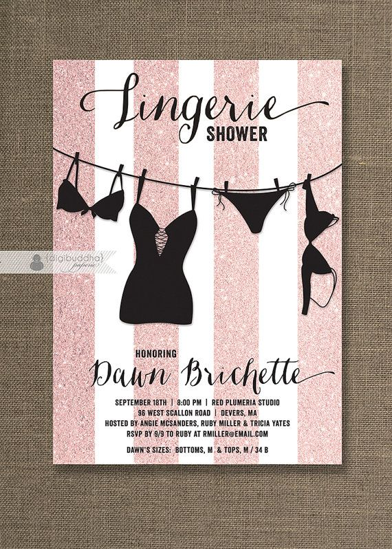 Pink glitter white striped lingerie shower invitations with – Lingerie Party Invite