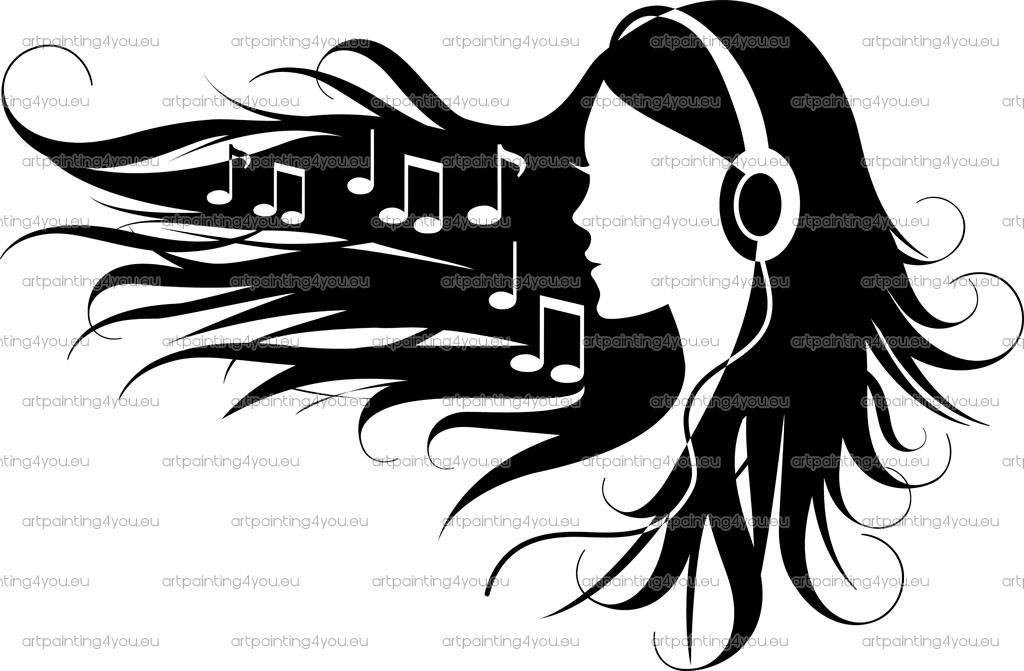 Headphones Music Notes: Vinyl Showing Girl With Headphones