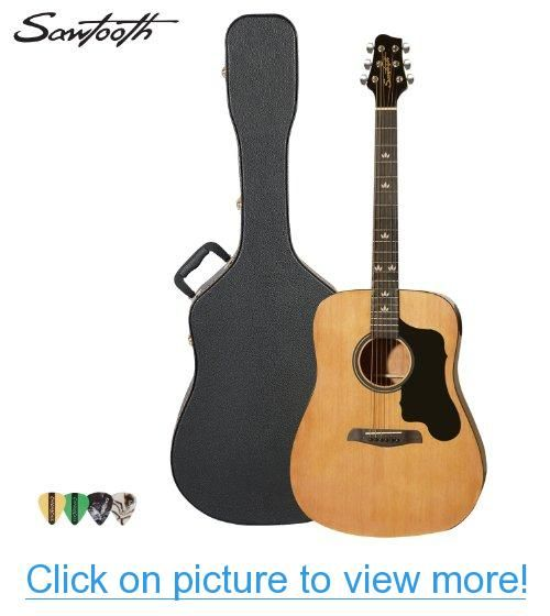 Sawtooth Acoustic Guitar With Black Pickguard Includes Picks Hard Case Guitar Acoustic Best Acoustic Guitar