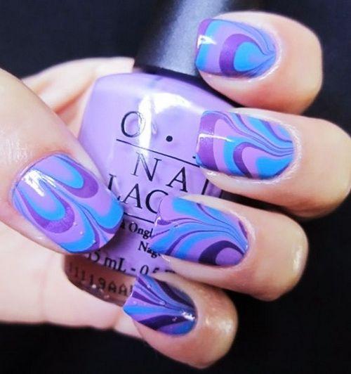 Purple Water Marble Nail Art Water Marble Nail Art Steps Nailing