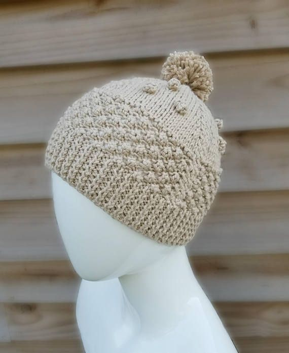 Irish knit beanie - knit hat - pom pom - bobble - vintage knit ... 29c04767b8