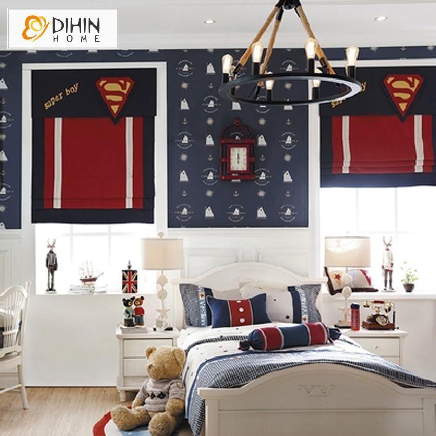 DIHIN HOME Super Boy Printed Roman Shades ,Easy Install