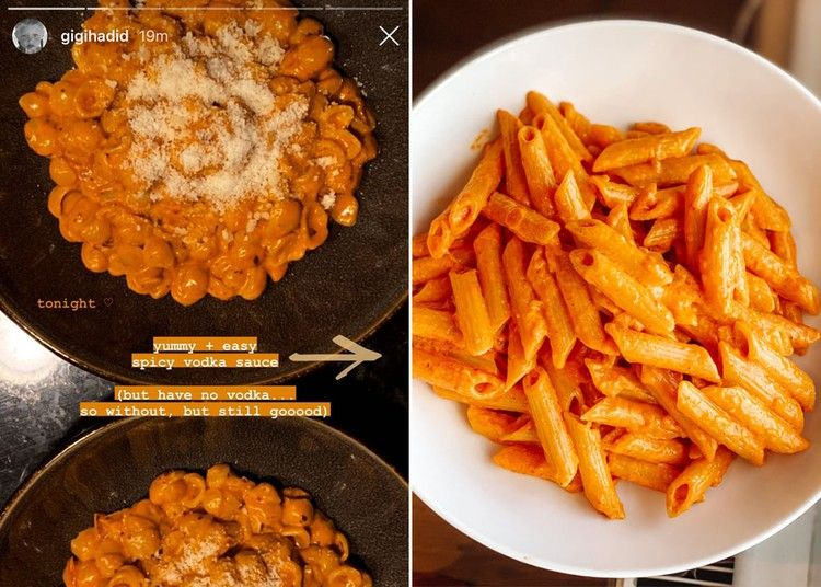 Gigi Hadid S Recipe For Spicy Vodka Pasta Sauce Is The Best Thing I Ve Cooked In Lockdown In 2020 Vodka Pasta Vodka Sauce Pasta Spicy Pasta