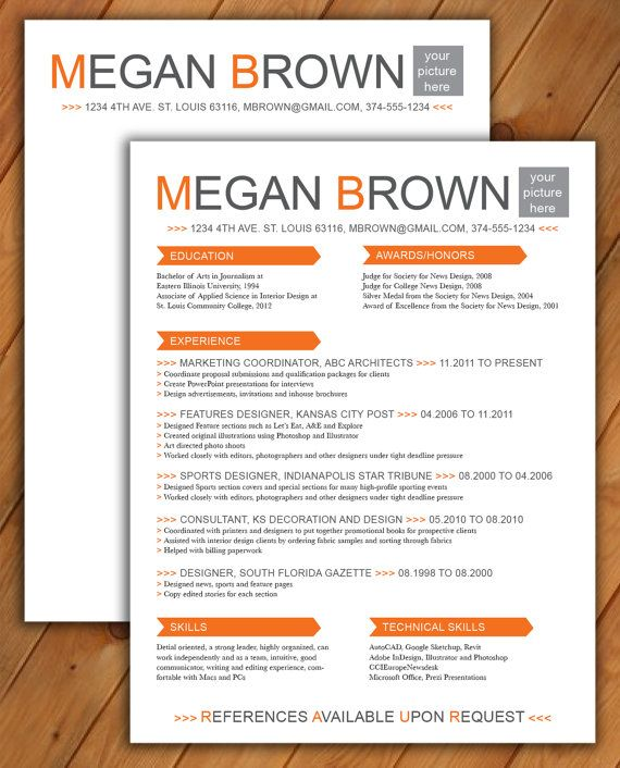 Custom Resume And Cover Letter Template Big Color By Rbdesign2 4500
