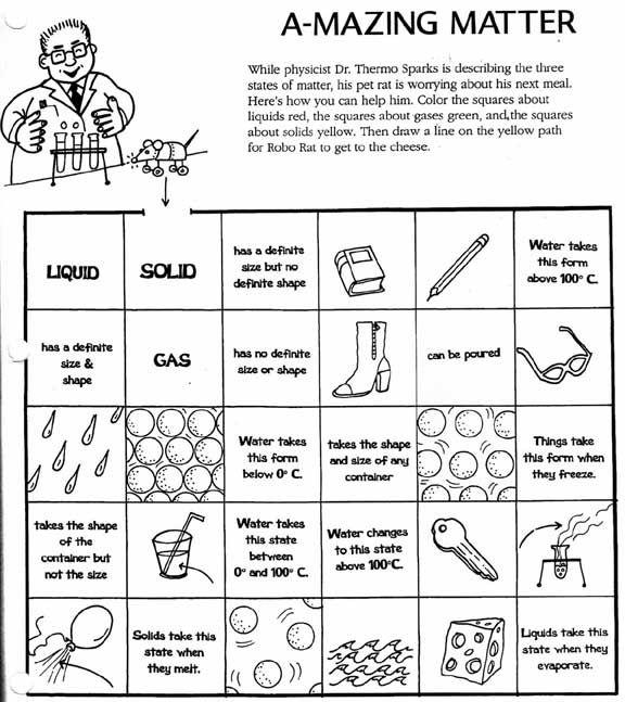 matter worksheets SolidLiquid Gas Worksheet – Physical and Chemical Properties of Matter Worksheet