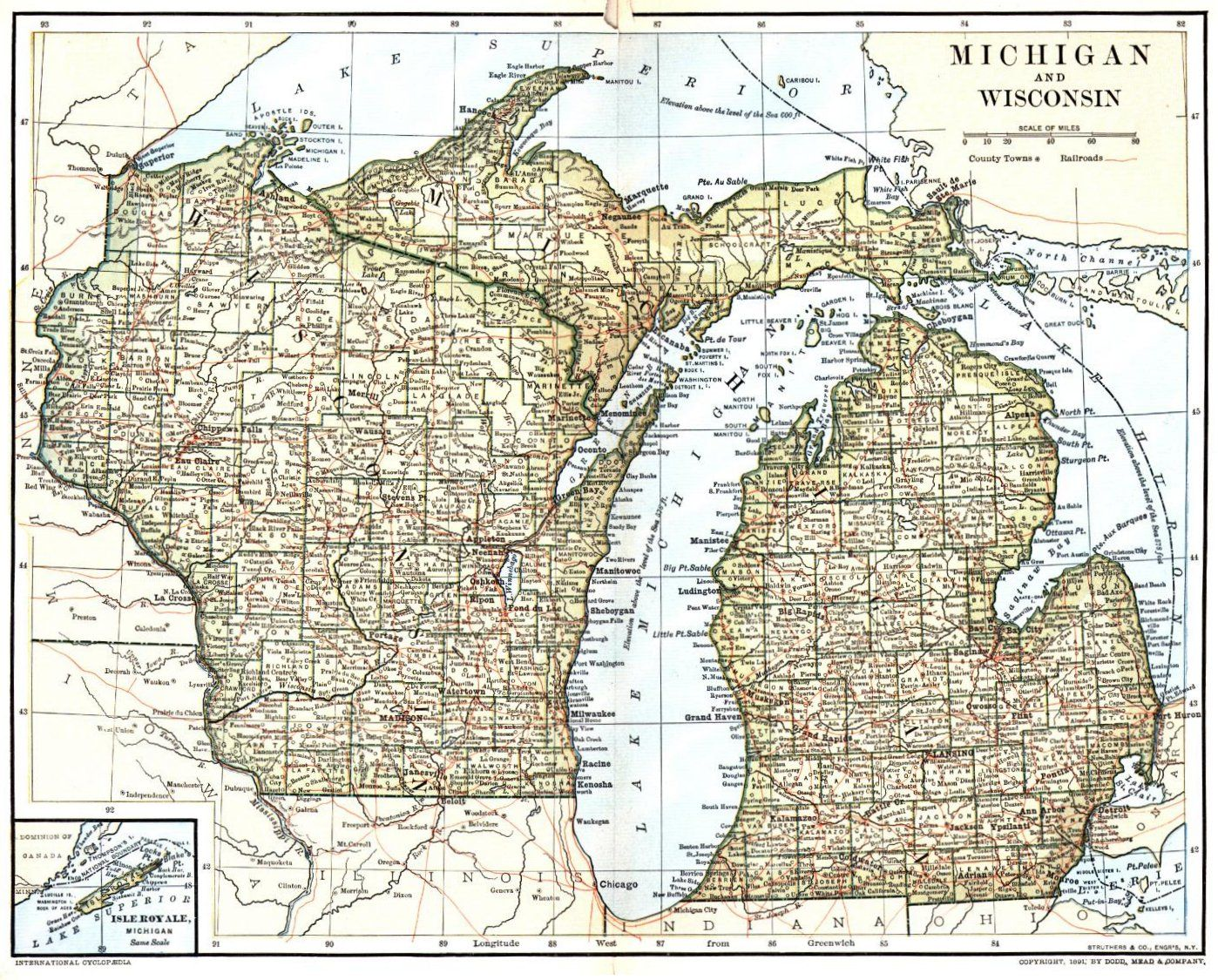 1891 map of Michigan and Wisconsin from the Wisconsin Digital Map