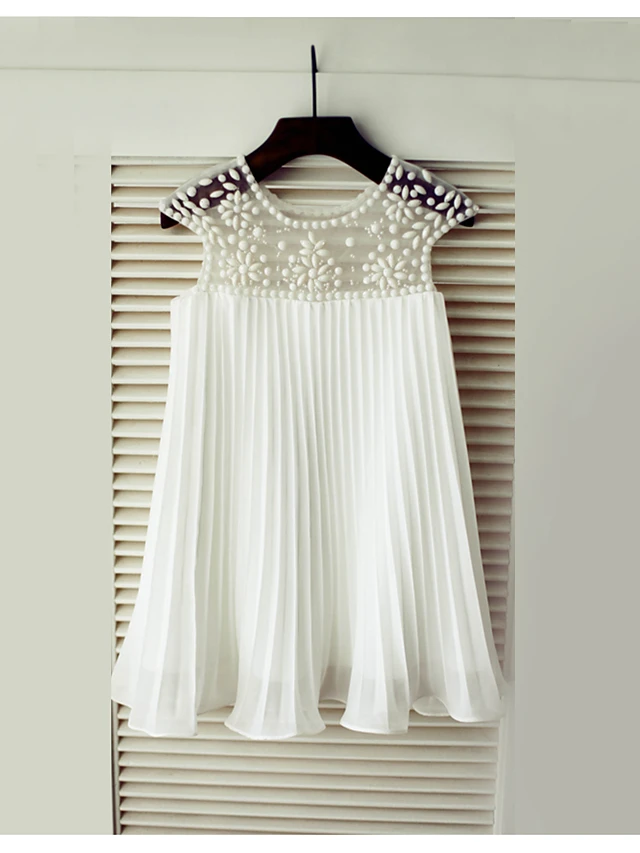 A-Line Knee Length Flower Girl Dress - Chiffon Short Sleeve Scoop Neck with Beading / Draping by LAN TING Express 2019 - US $53.99 #chiffonshorts