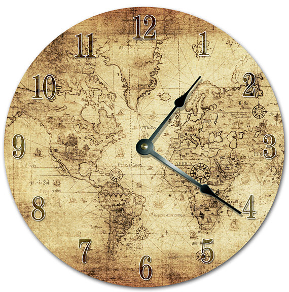 105 vintage world map clock living room clock large new apartment 105 vintage world map clock living room clock large gumiabroncs Gallery