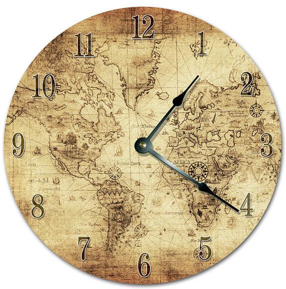 10 5 Vintage World Map Clock Living Room Clock Large Etsy Clock Living Room Clocks Large Clock