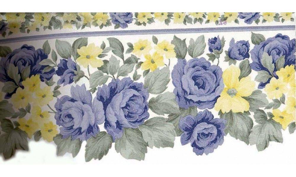7 in x 15 ft Prepasted Wallpaper Borders Blue Roses