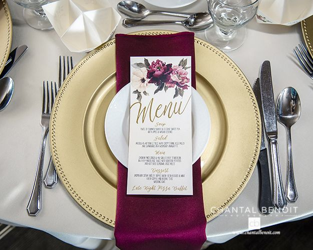 Gold Plate With Burgundy Napkins And Menu For A Vintage Wedding In August