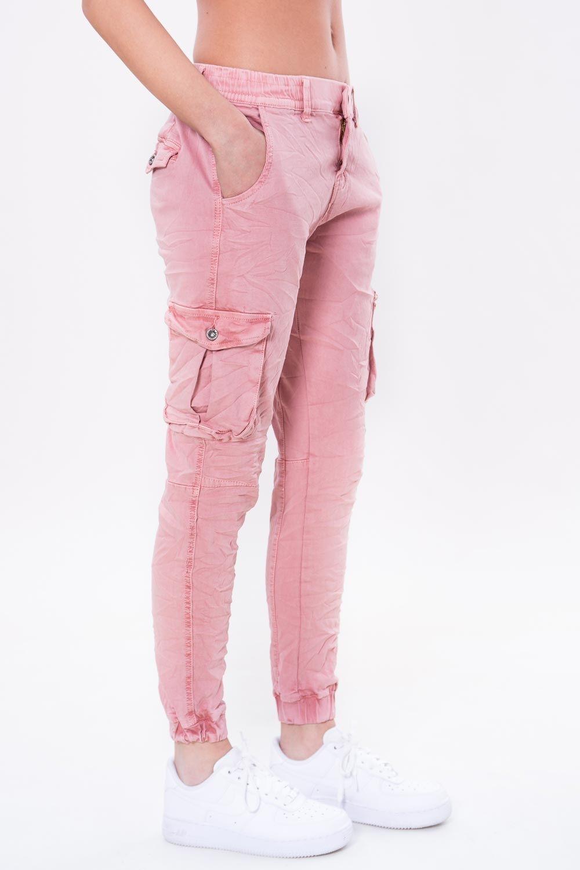 2e97abda013b0e PANTALONE TASCONI ROSA #Pantaloni in #cotone #elasticizzato, modello #cargo  con fascia