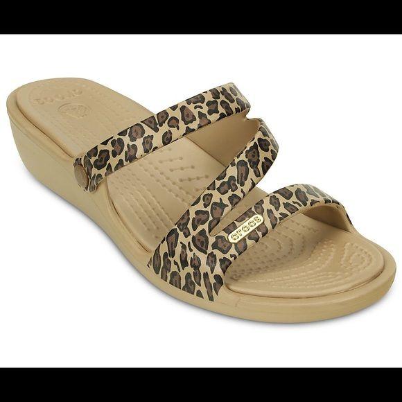Crocs Sandals | Leopard wedges, Leopard