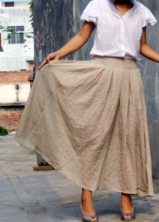linen cotton maxi skirt---- pleated skirt long skirt Irregular skirt blue black green skirt. $29.00, via Etsy.