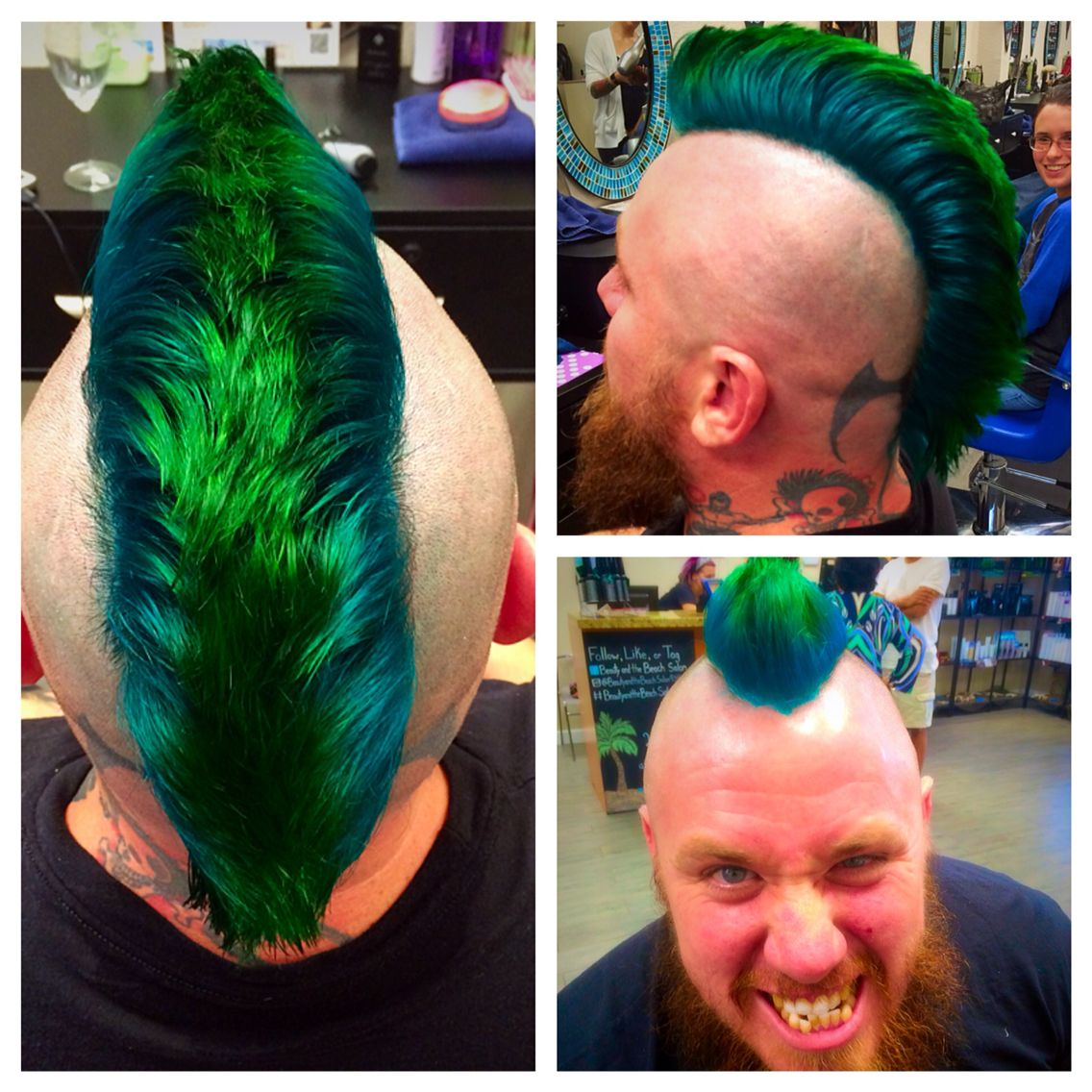 Mens Mohawk With Peacock Green And Colbolt Blue Color In