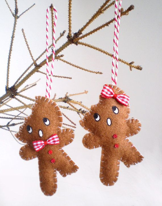 Bitten Gingerbread Decoration Cute Brown Felt Christmas Ornament