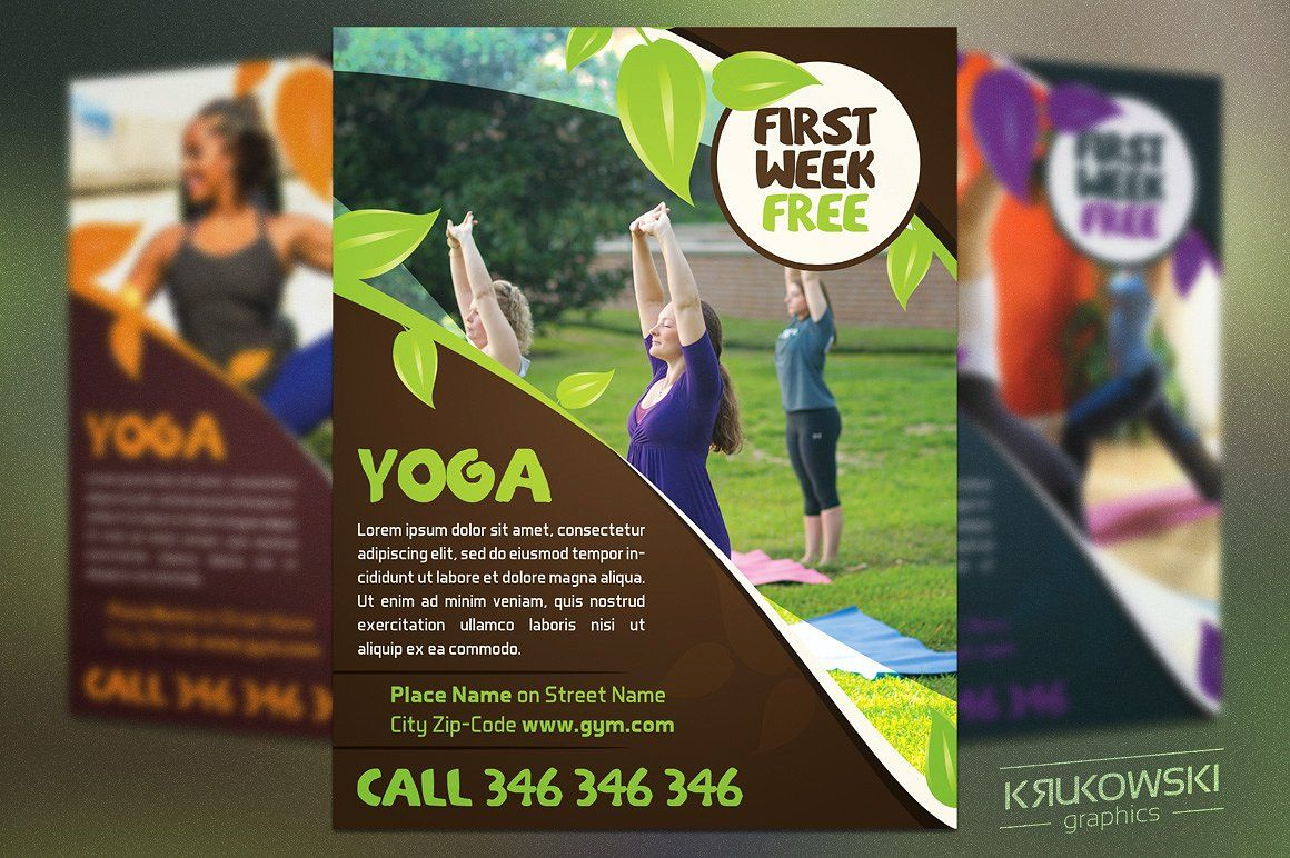 Close to Nature Yoga Flyer Template by Krukowski Graphics on ...