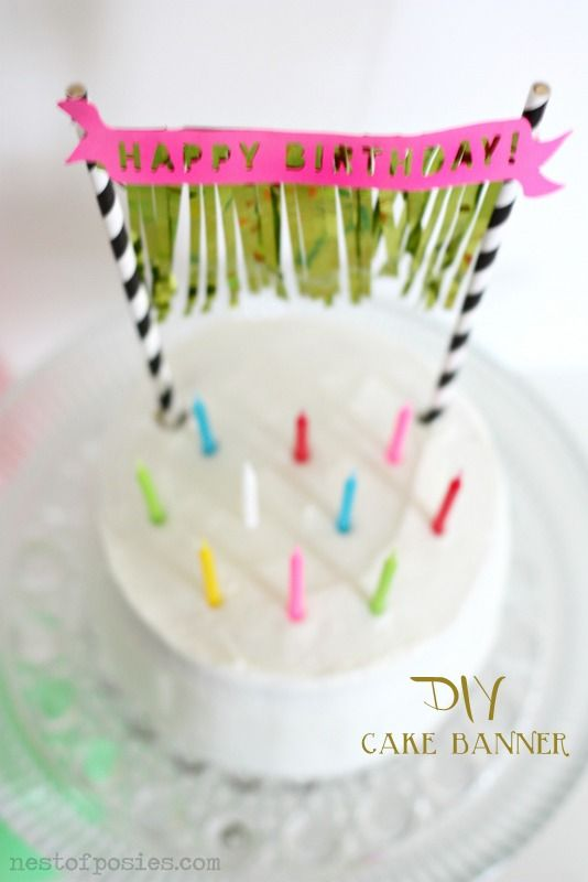 diy birthday cake banner with fringe free silhouette file to on cake birthday banner