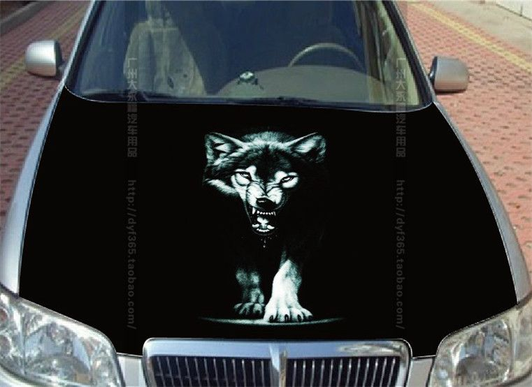 Dark Wolf Car Hood Sticker Styling DIY Head Roof Body Decal Decor - Custom vinyl decals for car hoodsfull color graphic vinyl sticker decal skull ghost fit car hood