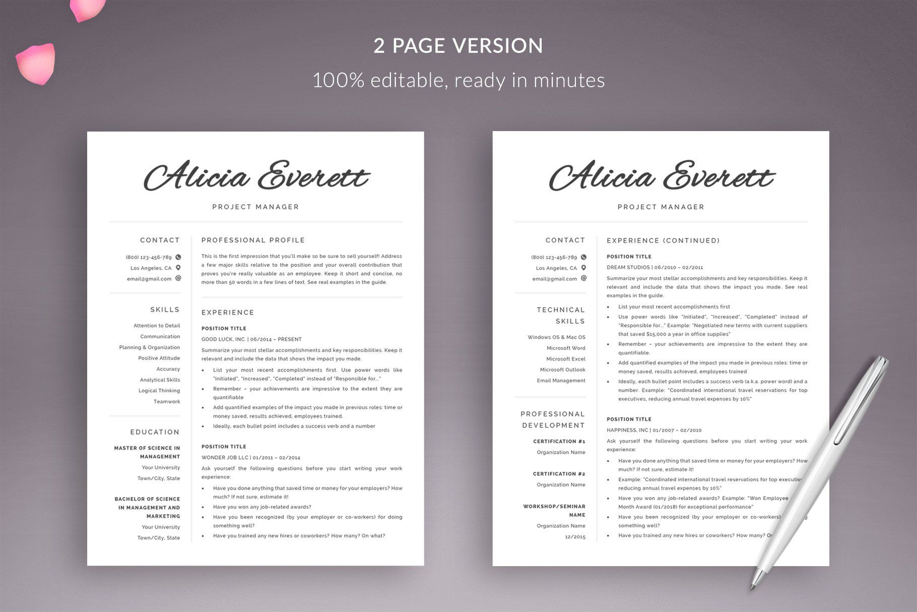 Professional Resume Template CV + (With images) Resume