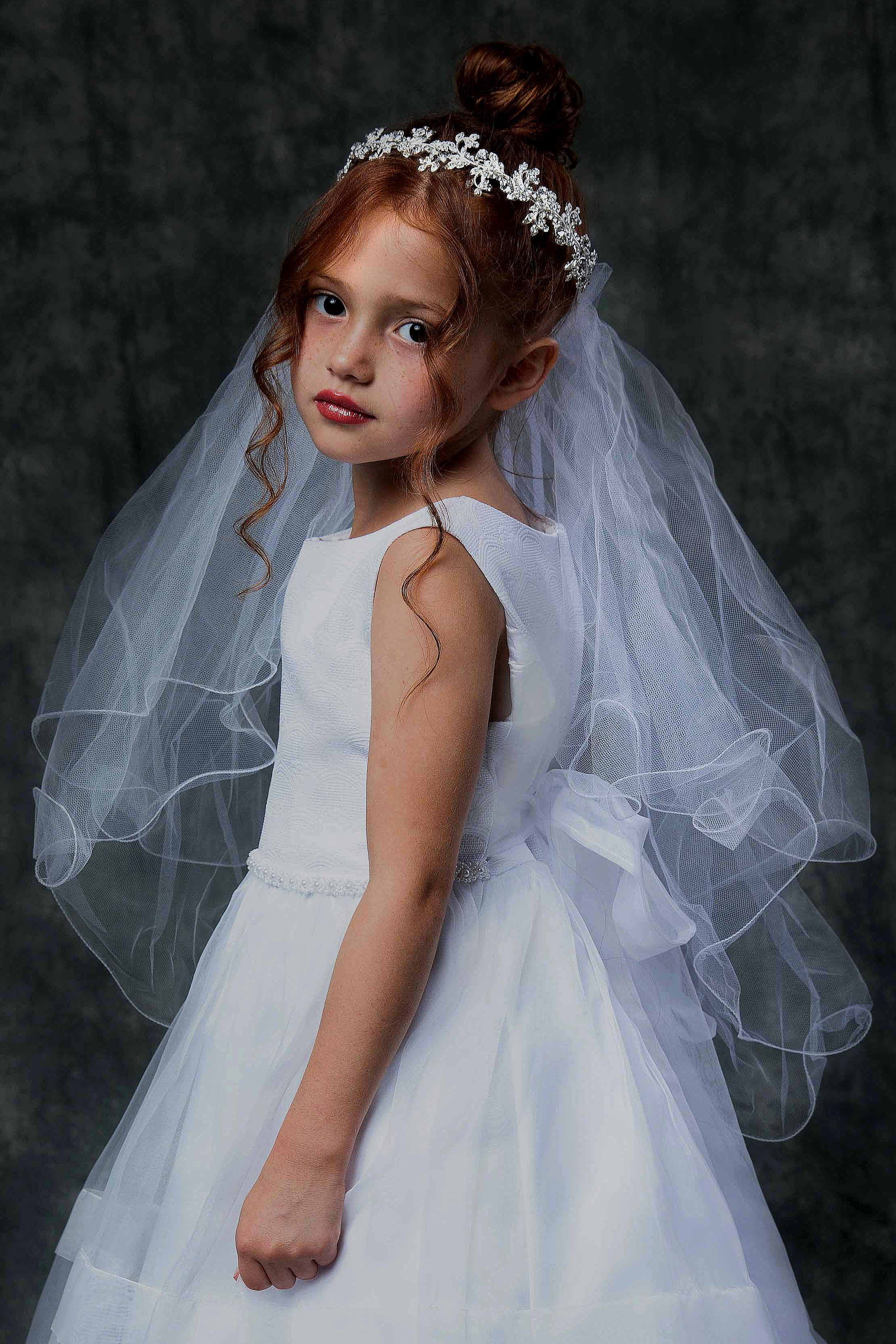 "Girls 1st Communion Wedding Bridal White Veil Flower Wreath Headpiece Length 22/"""