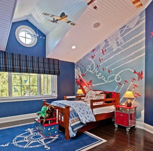 Charmant Kids Room, Blue Theme Decoration For Boys Bedroom That Decorating With  Plane Miniaature And Wall Murals: Put Our Kids Safety Beyond Others