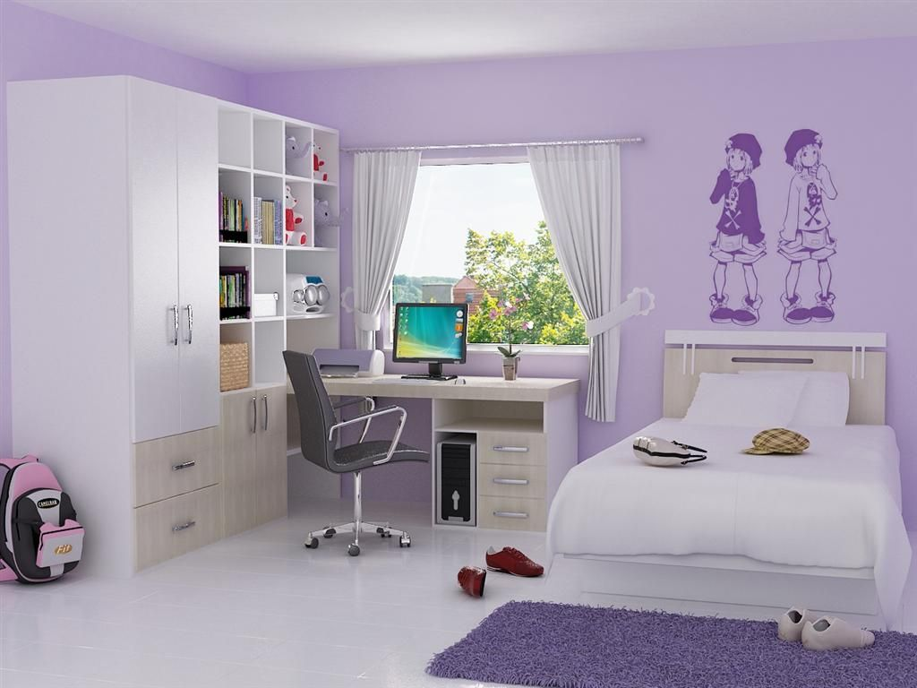 Design Ideas for Sweety Purple Girls Bedroom with Corner Space Wood Study  Desk that have Modern