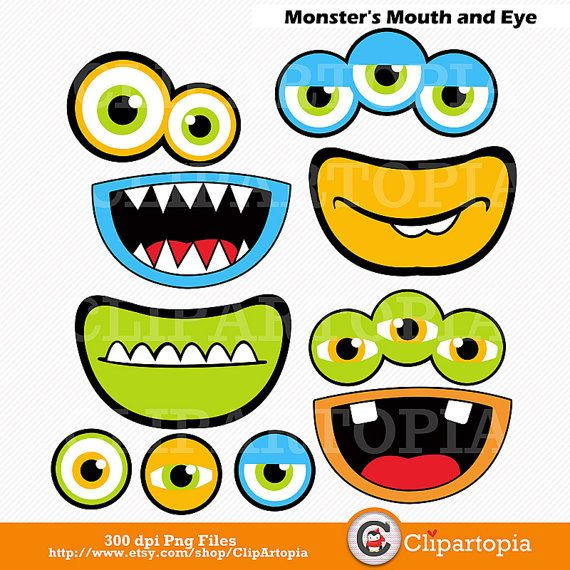 Monsters Mouth and Eyes Digital Clipart / Little Monster Party ...