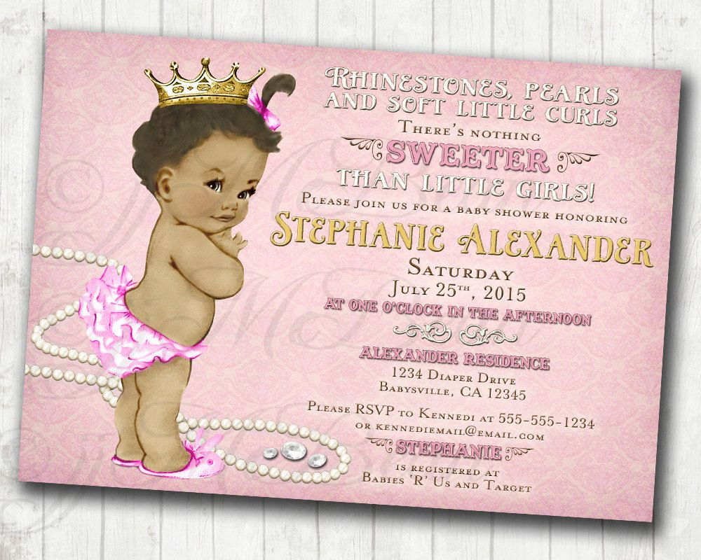 Girl Baby Shower Invitation For Girl African American - DIY ...