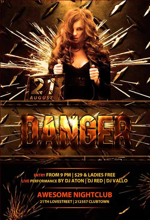 Danger Club Free PSD Flyer Template - http\/\/freepsdflyer - club flyer background