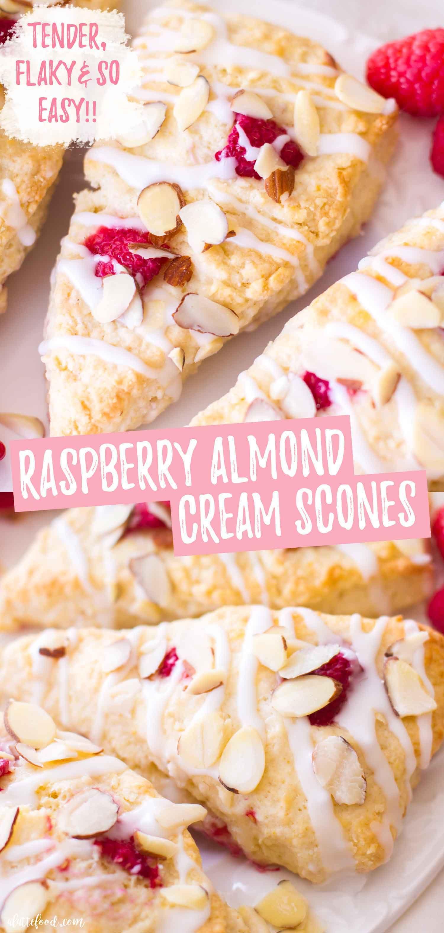 Raspberry Almond Cream Scones In 2020 Scones Recipe Easy Scones Easy Homemade Scones