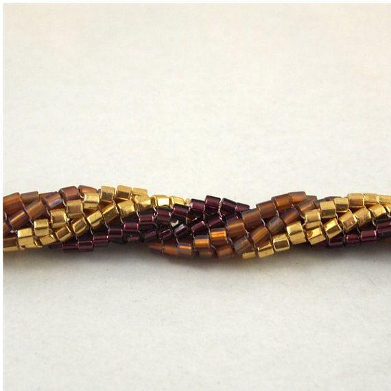 Herringbone Twist Bracelet Gold Topaz and by ChainedByLightness