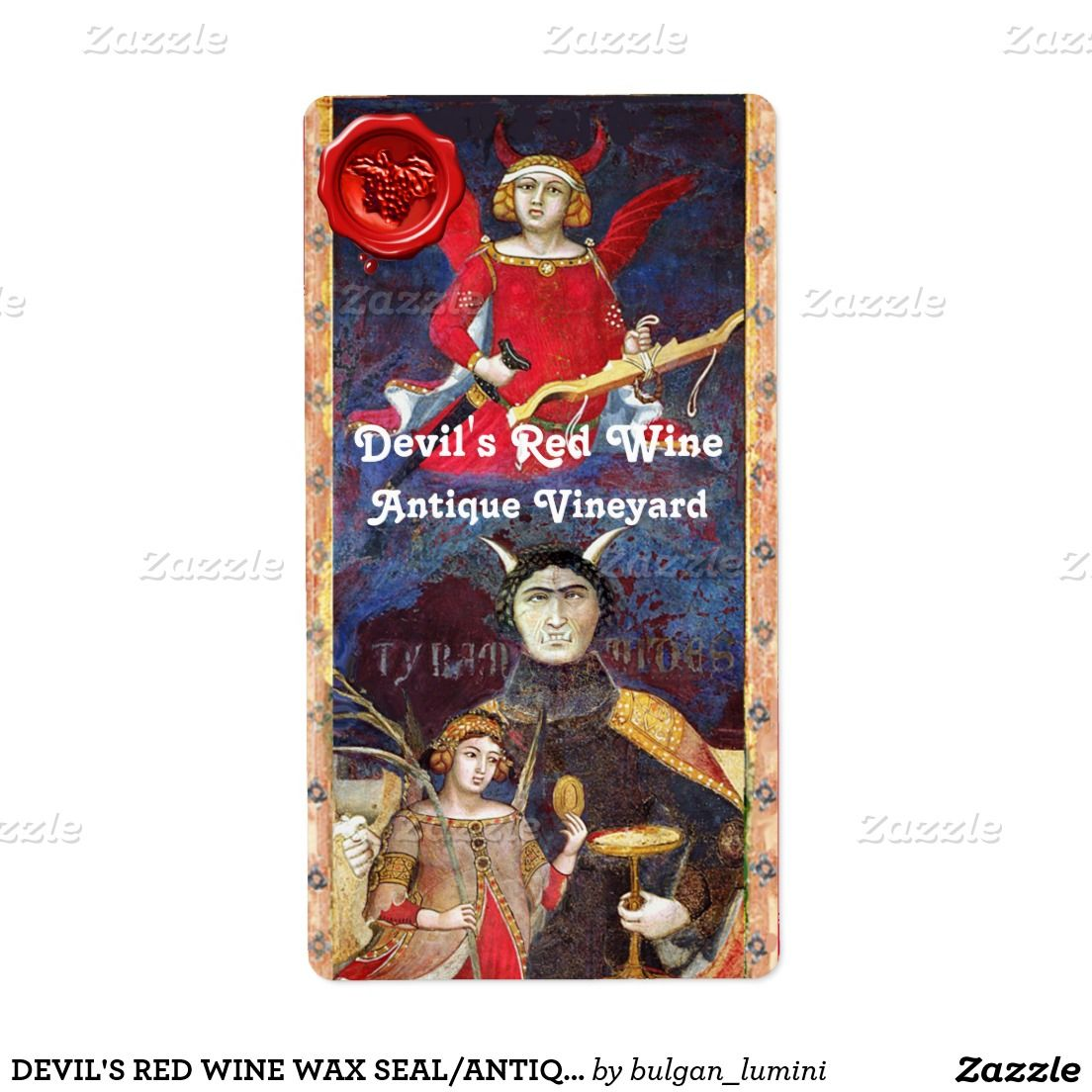 DEVIL'S RED WINE WAX SEAL/ANTIQUE TAROTS SHIPPING LABEL