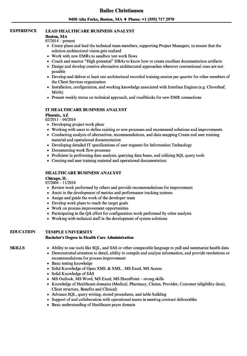 It Business Analyst Resume Contemporary Healthcare