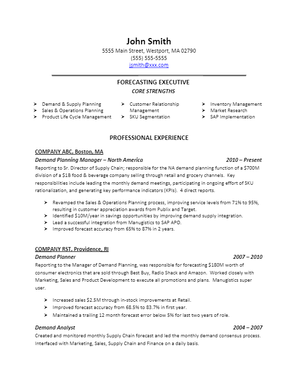 sample demand planning resume for more resume writing tips visit