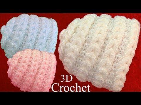 11) Gorro bufanda a Crochet punto en 3D argollas trenzadas tejido ...