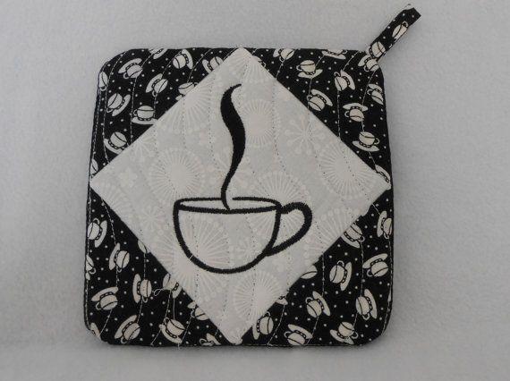 Pot Holder / Hot Pad, Fabric Pot Holder set, Pot Holder Embroidery, Coffee Pot Holder, Fabric Pot Holder, Embroidered fabric Pot Holder,