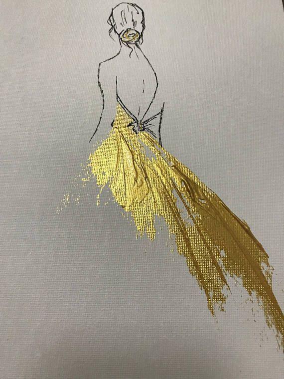 Photo of Prinzessin Malerei, Goldmalerei, Kinderzimmer Originalgemälde, Prinzessin Wandkunst, Mädchen in einem goldenen Kleid, benutzerdefinierte Ölgemälde von Julia Kotenko