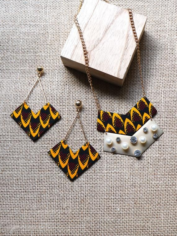 Finery Awa, tribal yellow Wax, African jewelry, jewelry wax, women jewelry, yellow necklace, necklace, wax, wax, African fabric earrings