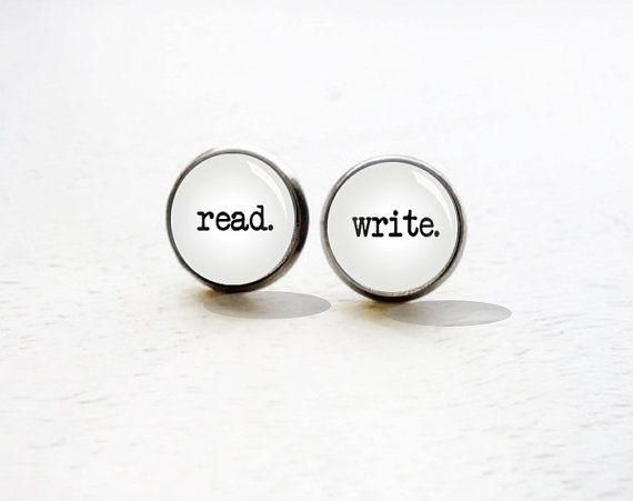 Read Write Stud Earrings - Reader Earrings - Writer Earrings - Book Lover -  Gift for Teens (H4401)