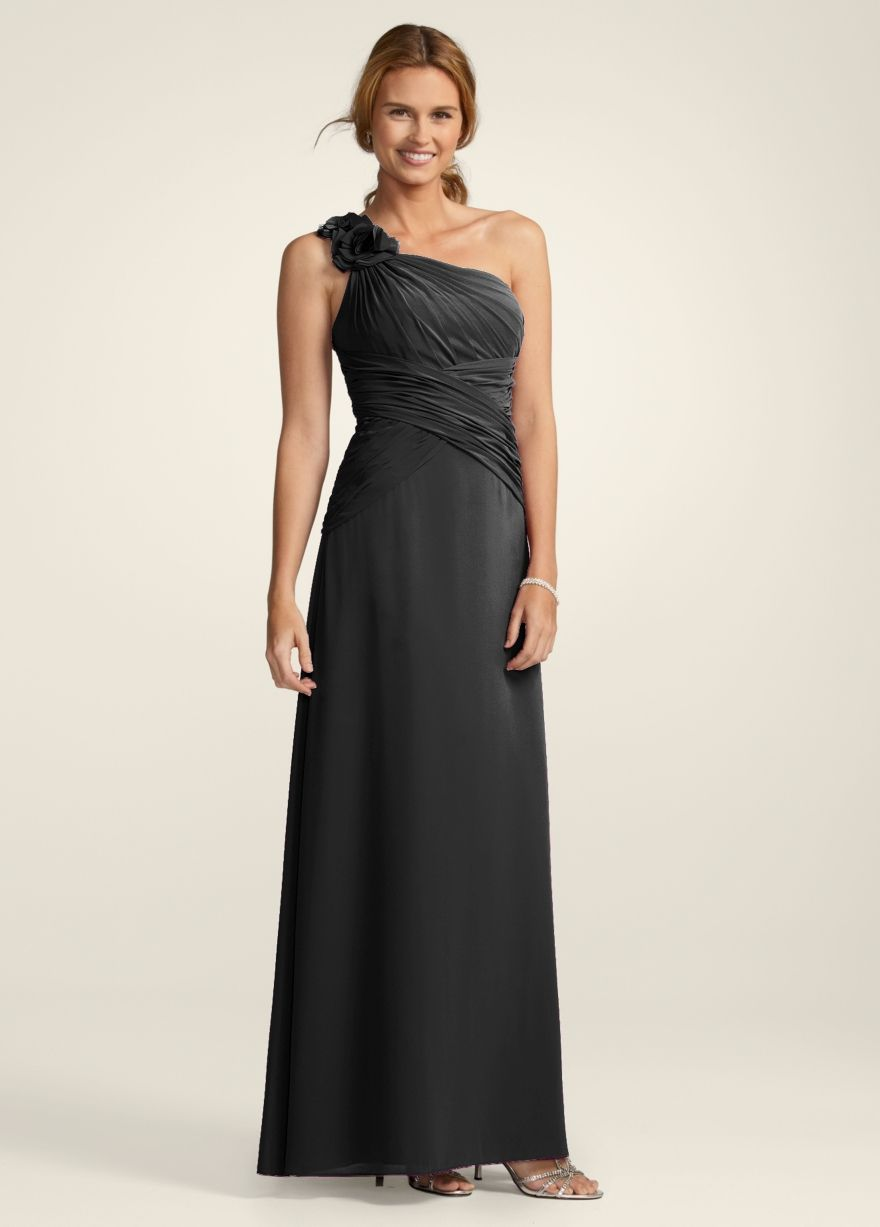 Davids bridal f14010 149 the wedding party pinterest this is the bridesmaid dress from davids bridal chiffon dress with floral detail and one shoulder style plum ombrellifo Image collections